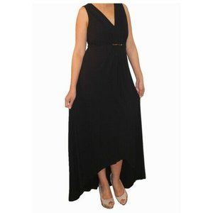 Chico's Long Black Cinched Maxi Dress With Metal 3